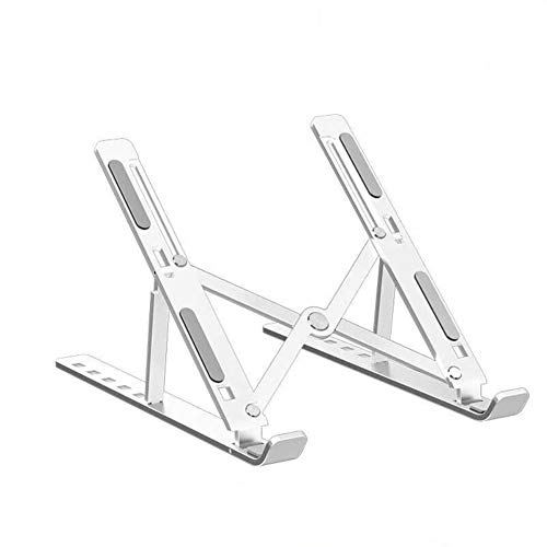 JJYF Laptop Stand Holder with Carry Bag, 6 Levels Adjustable Riser Mount Aluminum Ventilated Cooling Stand Support Apply to Under 17 inches MacBook Air/Tablet/Notebook-(Silver,24x16.5x5.5-15.5cm)