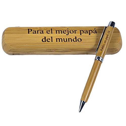 Bolígrafos personalizados (Regalo personalizado: bolígrafo de madera de bambú grabado con dedicatoria…)