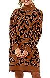 PRETTYGARDEN Women's Fashion Leopard Print Lantern Long Sleeve Turtleneck Chunky Long Loose Knitted Pullover Sweater Dress (Coffee, Medium)