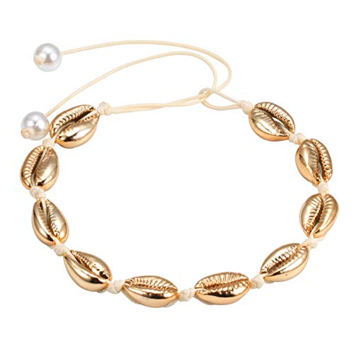 LDDJ Bracelet Fashion Bohemia Women Shells Necklaces Choker Natural Sea Conch Rope Chain Collar Jewelry Summer Beach Girl Best Gift Handmade Beaded (Metal Color : Gold)