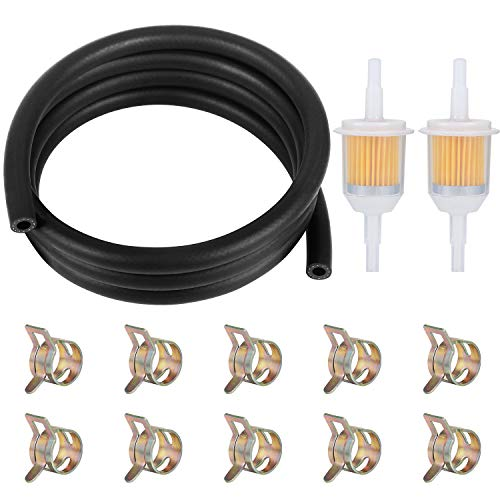 WiMas Kit Tubo Benzina, Filtri Carburante Tubo Benzina Set, 2 Metri Linea Carburante + 2PCS 6mm/8mm Filtri Carburante + 10PCS Fascette Stringitubo per Auto Moto Scooter
