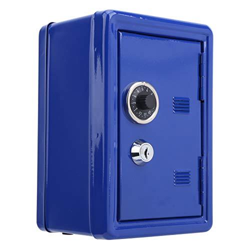 Mini Caja de Almacenamiento de Dinero para Llaves, Caja Fuerte de simulación de Metal, Caja de Ahorro de Monedas para niños(Azul)