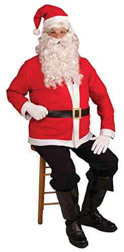 Forum Novelties mens Santa Claus Jacket and Hat Set Costume, White/Red, One Size US