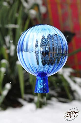 Gartenkugel ca. 25 cm XXL Form Kugel, klassische Kugelform handgefertigt hellblau Rosenkugel gartenkugeln, Sonnenfänger-Kugel, Sonnenfänger-Scheibe, Sonnenfängerscheiben, Gartendeko FROSTSICHER, li