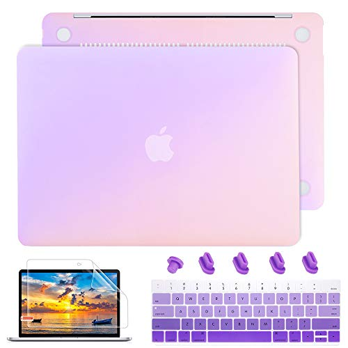 May Chen for MacBook Air 13 Inch Case A1466 A1369 Old Version 2010 2017, Plastic Hard Shell case Keyboard Cover + Screen Protector + Dust Plug for Old Air 13 - Gradient Purple