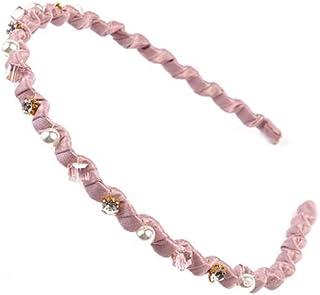 Rhinestone Hard Headbands Non-slip Teeth Hairband for Women Pink