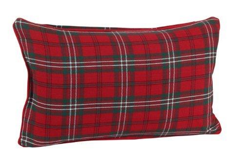 Homescapes Karierte Kissenhülle Edward 30 x 50 cm, Zierkissenbezug aus 100% Baumwolle mit schottischem Tartan-Muster und Reißverschluss, Schottenmuster rot-grün