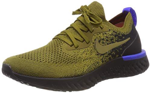 Nike Herren Epic React Flyknit Laufschuhe, Mehrfarbig (Olive Flak/Olive Flak/Black/Hyper Royal 301), 45 EU