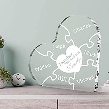 VEELU Personalized Family Names Crystal Gift Customized Clear Acrylic Love Heart Puzzle Laser Engraving Names Keepsake Funny Sign for Home Decor,10x10CM - Together We Mke a Family