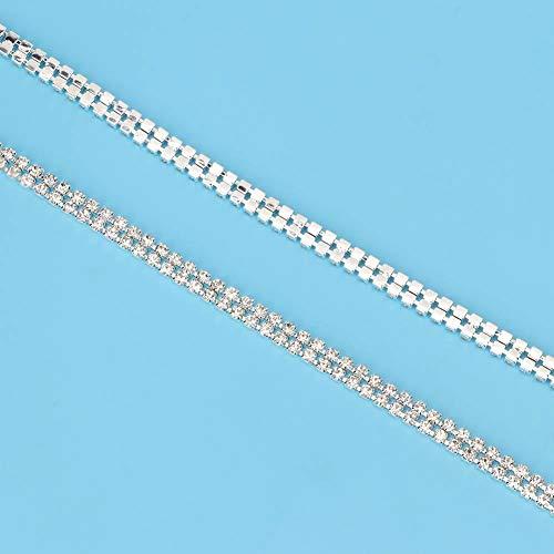 Cinta de diamantes de imitación duradera de decoración brillante, cinta de rollo de cristal, pulsera de tocado DIY para vestido de novia para collar(Double row white 1 meter)