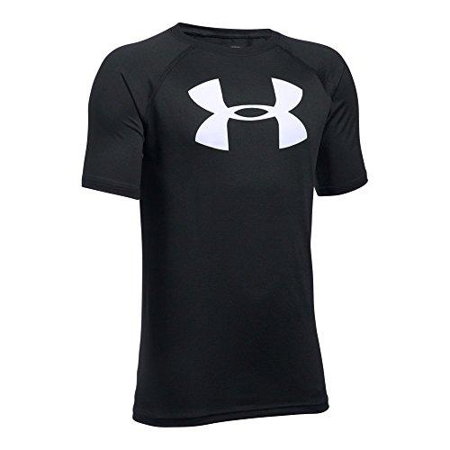 Under Armour Boys' Tech Big Logo T-Shirt, Black /White, Youth Large