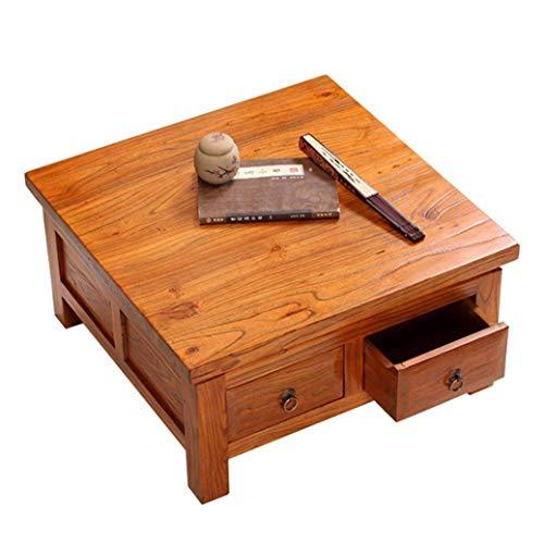 HIGHKAS Holz Couchtisch Balkon Niedriger Tisch Wohnzimmer Mini Couchtisch Teetisch mit Schubladen Studiertisch Laptop Tisch Frühstückstisch (Farbe: Holzfarbe, Größe: 70x70x30cm)