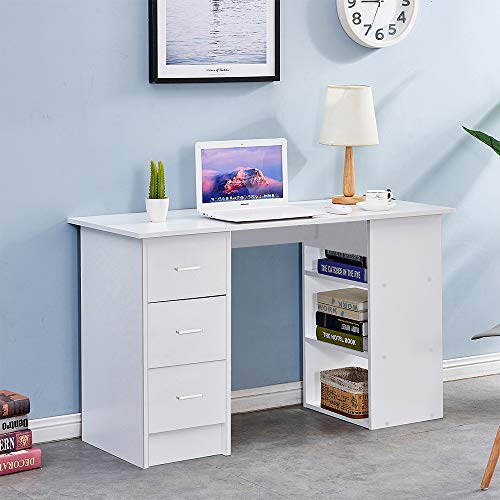 Homsailing EU Wooden Computer Desk with 3 Shelves 3 Drawers Home Office Desk PC Laptop Table Gaming Study Desk Workstation kid White