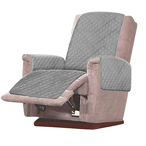 Sesselschoner Sesselauflage Anti-Rutsch 1 Sitzer Sesselauflage Relaxsessel Sofaschone mit 2.5 cm Breiten Verstellbaren Trägern für Schonbezug Möbelschutz (Grau)