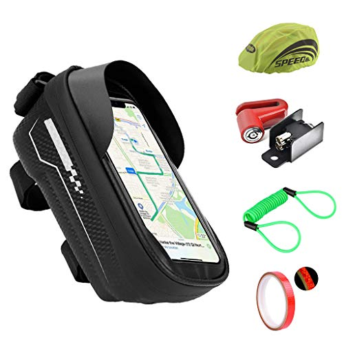 MXIAZU Bike Handlebar Bag Bicycle Cellphone Front Frame Waterproof Cycling Pouch Touch Screen Holder Rack Case 6.5inch Disc Lock Motor Theft Protection Helmet Reflector Spring Reminder Gift