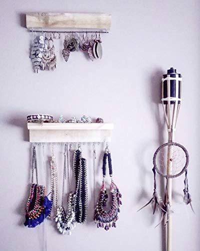 HANNUN Joyero Lindi/Joyero de Madera Maciza Mujer/Mueble Colgador de Joyas de Madera/Joyero Pared Grande Artesanal Fabricado a Mano, Color Madera Blanco