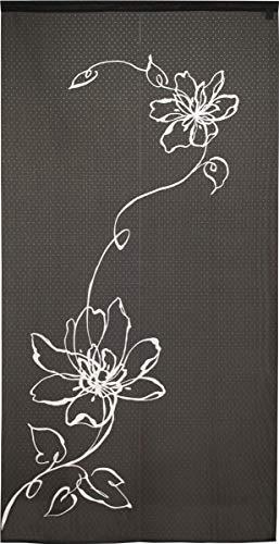 のれん ロング 花 タペストリー 間仕切り 目隠し 85×170cm ロング (ブラック) ウエヌスタ 2253