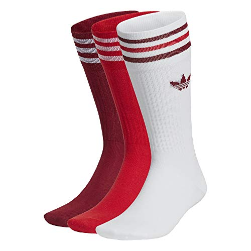 adidas Solid Crew Socks Socken 3er Pack (39-42, white/red/burg&y)