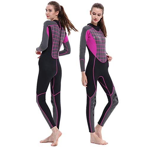GoldFin Womens Wetsuits 3mm Neoprene Full Suit- Thermal Swim Suit Back Zip Long Sleeve for Diving Surfing Snorkeling, SW016 (Fuchsia, XL)