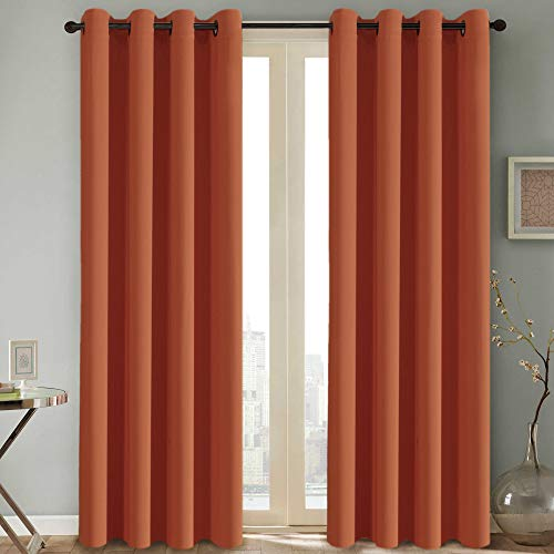 H.Versailtex Thermal Insulated Blackout Room Darkening Nursery/Baby Care Curtains,Grommet Panels, 52 by 84 - Inch - Burnt Orange - Set of 2