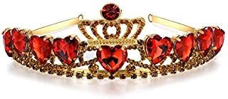 Vinjewelry Evie Descendants 2 Crown Red Heart Tiara Evie Costume Gold Tiara Christmas Halloween for Kids
