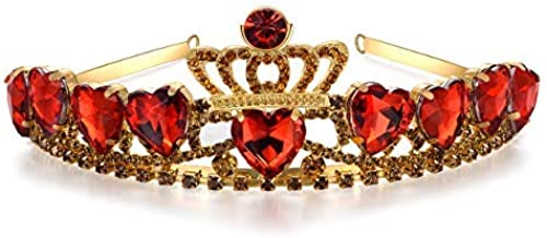 Vinjewelry Queen of Hearts Crown Descendants Toys Evie Costume Accessories Red Heart Gold Tiara Christmas & Halloween Gift for Her