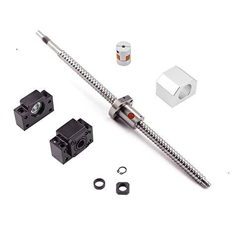 Vis à Billes CNC pièces SFU1204 RM1204 800mm Diam 12mm avec ÉCROULogement D'écrou + Supports d'Extrémité BK/ BF12 + 1 pcs Coupleur pour Imprimante 3D longueur Approx 31.5 inch/ 800mm