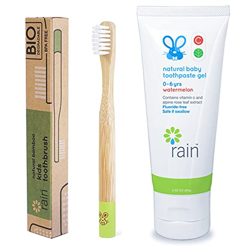 Rain Natural Bamboo Kids Toothbrush Set Fluoride-Free Baby Toothpaste Safe to Swallow with Vitamin C for 6 to 12 Months Up Infant Toddler Toothbrush BPA-Free Biodegradable (1 Toothbrush 1 Toothpaste)