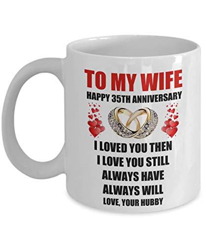 N\A 35 años 35 Aniversario de Bodas Regalo del día de San Valentín para la Esposa Sus Mujeres del Esposo Anillos de Amor románticos Citas Regalo Taza de café Taza