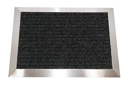 Edelstahlrahmen mit Polypropylen-Fußmatte 70x50 cm (Marke: Szagato) (Schmutzfangmatte, Fußabtreter, Schmutzmatte)
