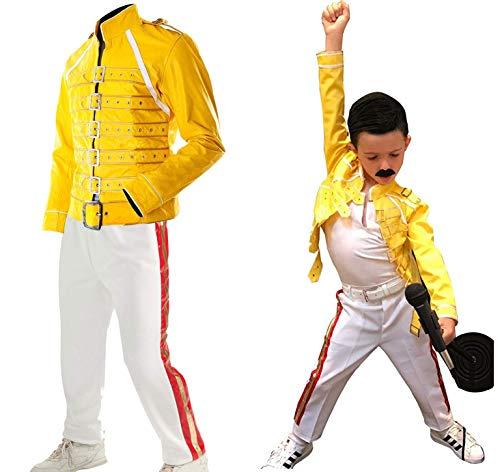 Fashion_First Niños Wembley Concert Freddie Mercury Traje Chaqueta Pantalones De Piel Sintética Ropa De Halloween