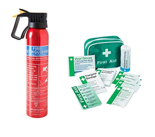 First Aid Kit & 600g Fire Extinguisher Ideal Cars, Home, Office, Taxi, Caravan