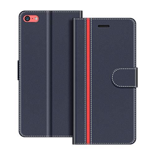 COODIO Custodia per iPhone 5C, Custodia in Pelle iPhone 5C, Cover a Libro iPhone 5C Magnetica Portafoglio per iPhone 5C Cover, Blu Scuro/Rosso