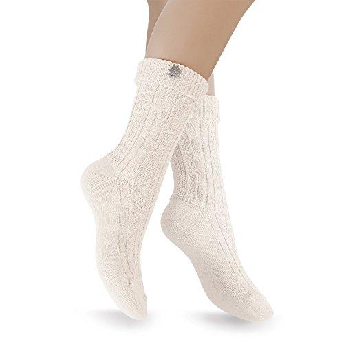 Celodoro Damen und Herren Trachten Socken (2 Paar) mit Edelweiß-Pin, Oktoberfest Strümpfe - Weiß 35-38