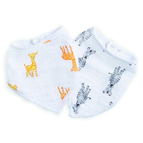 aden + anais™ essentials - Pack de 2 bavoirs bandanas en mousseline 100% coton- Design à la mode - Absorbant - Pour bébés qui font leurs dents - Garçon - Fille - Imprimé Safari Babes - 21,5 cm x 41 cm