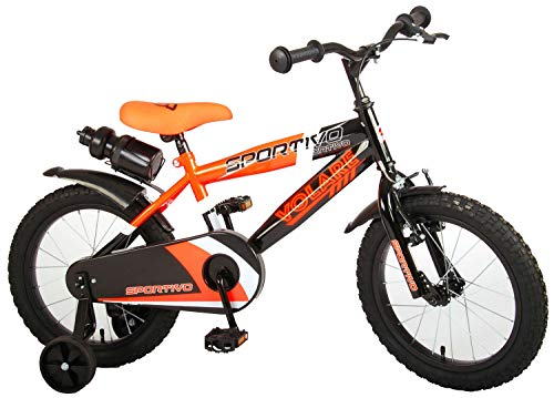 Kinderfahrrad Jungen Volare Sportivo 16 Zoll mit Vorradbremse am Lenker und Rücktrittbremse, Stützräder Orange 95% Zusammengebaut