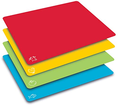 Better Kitchen Products - Juego de 4 alfombrillas de plástico flexible extra gruesas para tabla de cortar, con iconos de color y parte trasera de gofre