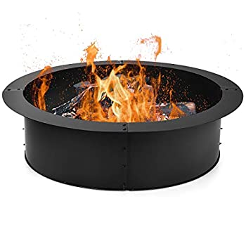 Giantex Fire Ring Heavy Duty Thick Solid Steel Fire Pit Liner 36-Inch Outer/30-Inch Inner Diameter DIY Fire Pit Rim Above or In-Ground for Outdoor Patio Backyard