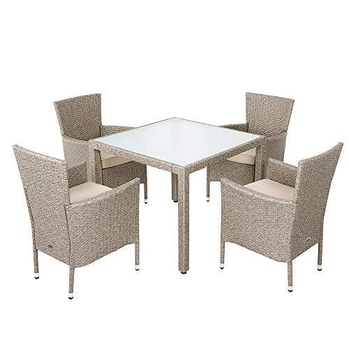Deuba Salon de Jardin en polyrotin Gris Beige 1 Table 4 chaises avec Coussins Ensemble Table chaises Mobilier de Jardin