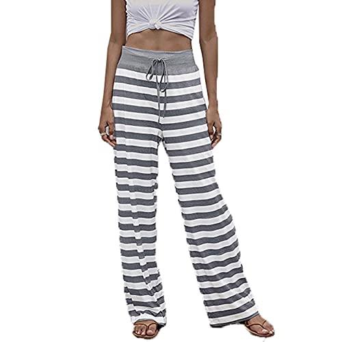 Pantaloni Casual con Lacci da Donna alla Moda Pantaloni con Stampa Dritta A Gamba Larga Multicolore con Lacci Larghi alla Moda