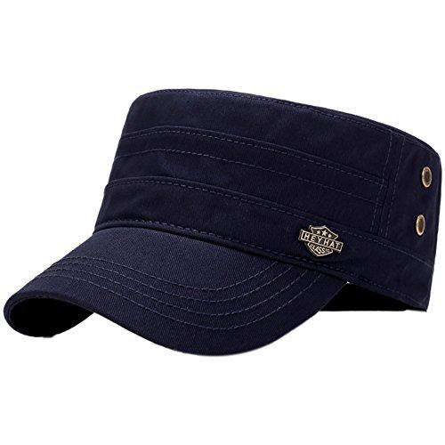 Aesy Gorras de Hombre Plana, Gorras de Béisbol, Ajustable Algodón Sombrero Cabeza Gorras de Militar Plana (Azul)