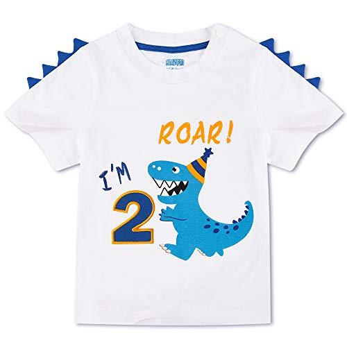 AMZTM Dinosauro Maglietta di Compleanno - 2°Compleanno Articoli per Feste Regalo Bambino Ragazzo T-Shirt Manica Corta Bianca Girocollo in 100% Cotone Stampa Top T Shirt