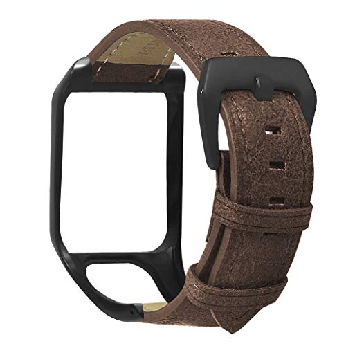 NA. Newesoutorry Watch Band Wrist Strap, Genuine Leather Wrist Strap Metal Clasp Buckle Watchband Bracelet for Tomtom Runner 2 3/Spark 3 Cardio/Music/Adventurer/Golfer 2