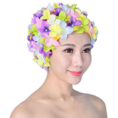 Damen Badekappe, Retro-Design, atmungsaktiv, mit Blumen Gr. One size, mehrfarbig