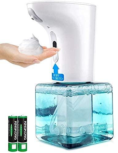 Dispenser di Sapone Automatico, 250ML Erogatore di Schiuma di Sapone a Infrarossi Senza Contatto Portasapone a Pompa, Dosatore di Sapone Regolabile per Bagno, Cucina, Ufficio