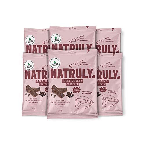 NATRULY Beef Jerky Pimienta, Carne Seca 100% Vacuno, Sin Gluten, Sin Lactosa, Sin Azúcar, Sin Aditivos Artificiales -Pack 6x25g (Natural AThlete)