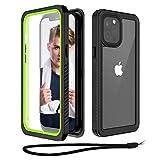 Beeasy Funda Antigolpes para iPhone 12 Pro,IP68 Certificado Sumergible Carcasa,360 Grados Protección con Protector de Pantalla Incorporado,Militar Antichoque Estanca Impermeable,Negro + Verde