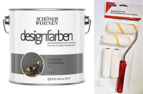 Schöner Wohnen designfarben feinmatte Wandfarbe für innen 2,5 Liter mit go/on Rollen-Set 5-tlg (Nr 1 Klassisches Schiefergrau)