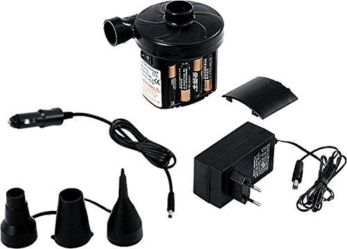 Jilong Pompa 3 Way elettrica 12V a batterie + AC230V, 11,7x9,7x11,3cm, Nero