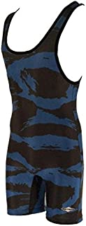 Matman Funky Camo Wrestling Singlet - Royal/Black - Mens and Boys